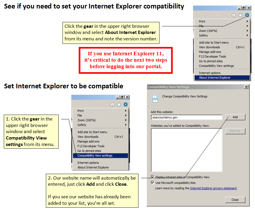 IE 11 requires Compatibility View setting for our site.